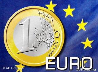 Euro coin over EU flag, with EURO lettering