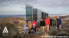 A German team of Munich Re Foundation during a visit to the fog harvesting project in southern Morocco Photo title: Implementation of the plans for new fog nets in Morocco succeeded in November 2013. Drinking water capture from six different kinds of nets is scientifically monitored and evaluated by the TU Munich. Place and Date: Mount Boutmezguida , November 2013 Copy Right/ Photographer: Darsihmad Assiciation