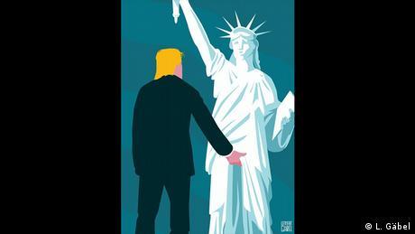 Karikatur: Trump und die Freiheitsstatue (L. Gäbel)