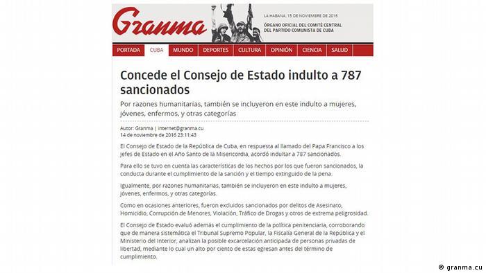 Screenshot Staatsrat Kuba Begnadigung (granma.cu)