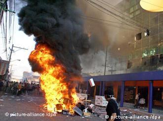 In Santa Cruz protestieren Studenten gegen die Zentralregierung (10.09.08, dpa)