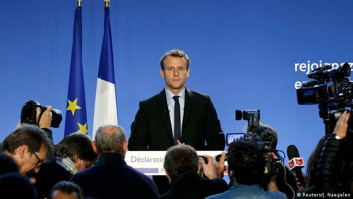Frankreich Emmanuel Macron gibt seine Kandidatur bekannt (Reuters/J. Naegelen)