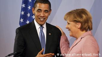 2009 NATO Summit with Barack Obama and Angela Merkel (picture-alliance/dpa/J. Koch)