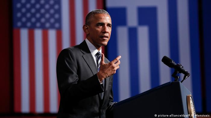 Griechenland Barack Obama Grundsatzrede in Athen (picture-alliance/dpa/P.M. Monsivais)