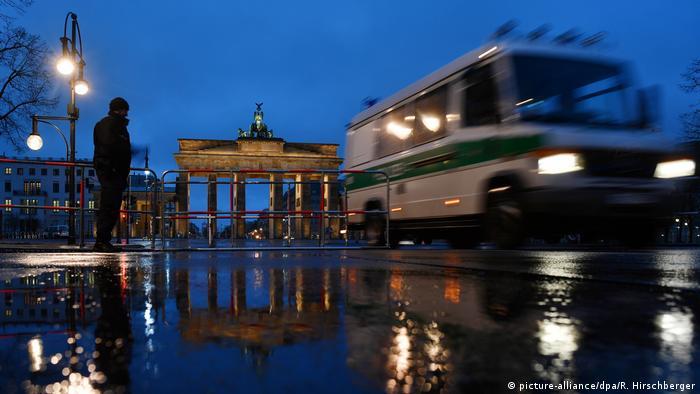 Police patrol near the Brandenburg Gate in Berlin