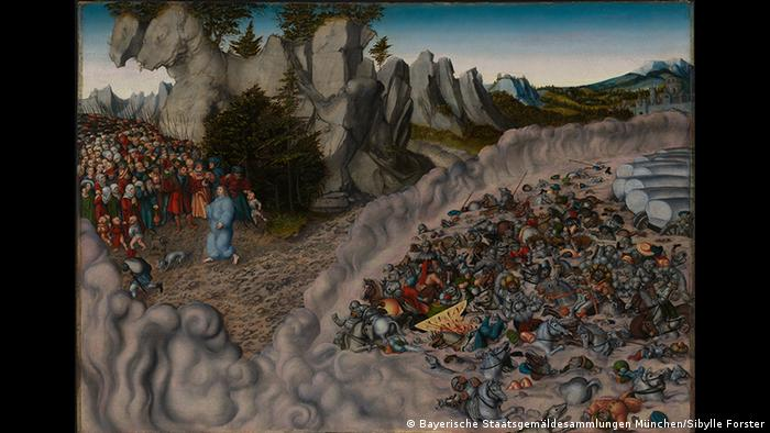 Painting by Lucas Cranach, the Elder, depicting the Israelites in the Red Sea, 1530 (Bayerische Staatsgemäldesammlungen München/Sibylle Forster)