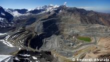 November 17, 2014. An aerial view of open pits of CODELCO's Andina (L) and Anglo American's Los Bronces (front) copper mines with Olivares glaciers in the background (top) at Los Andes Mountain range, Chile, November 17, 2014. REUTERS/Ivan Alvarado/File Photo