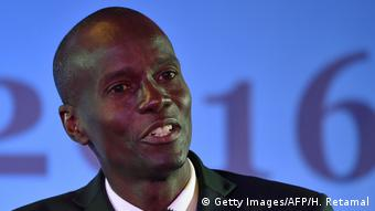 Presidential candidate Jovenel Moise of PHTK political party takes part in a recorded Presidential Debate organized by GIAP