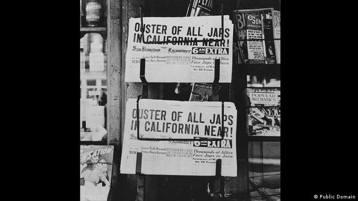 Zweiter Weltkrieg Internierung japanischstämmiger Amerikaner Zeitungen (Public Domain)