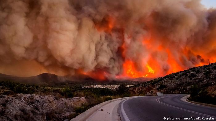 Griechenland Waldbrand auf der Insel Chios (picture-alliance/dpa/K. Koyrgias)
