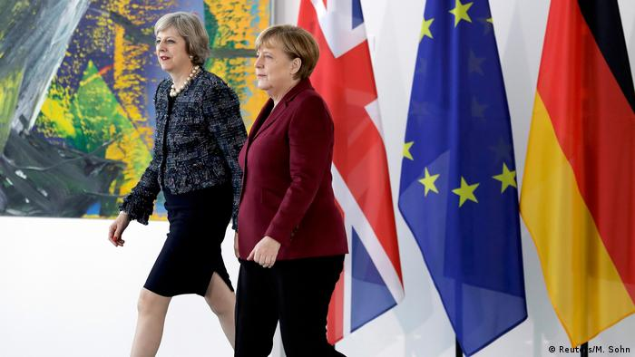 Premiê britânica, Theresa May, e chanceler alemã, Angela Merkel