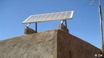 A solar cell on the roof of a house in Morocco