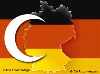 The German map and flag with a superimposed Muslim cresent