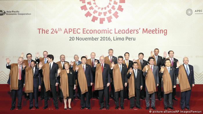 Peru APEC Abschlußfoto mit traditioneller Kleidung (picture-alliance/AP Images/Yomiuri)