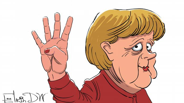 Angela Merkel cartoon by Sergey Elkin.