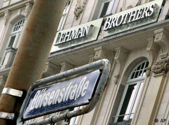 Street sign reading 'Boersenstrasse' or Exchange Street in front of a Lehman Brothers office building in Frankfurt