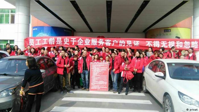 Protest in Coca-Cola Fabrik Chongqing