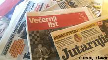 Titel: Kroatische Tageszeitungen Beschreibung: Kroatische Tageszeitungen, Kroatien Presse, Symbolbild Copyright: Djurdjica Klancir, DW-Korrespondentin in Zagreb, Kroatien
