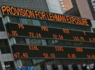 The days financial news is displayed on the Morgan Stanley news ticker in New York's Times Square