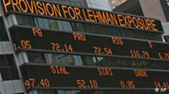 The days financial news is displayed on the Morgan Stanley news ticker in New York's Times Square, Tuesday, Sept. 16, 2008.