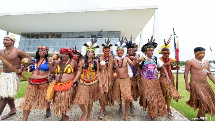 Indigenous group protesting in Brazil (Getty Images/AFP/E. So)