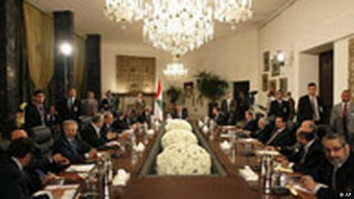 Leaders of 14 political factions meet for talks headed by President Michel Suleiman, center, at the Presidential Palace in suburban Baabda, Lebanon, Tuesday, Sept. 16, 2008. Lebanon's deeply divided rival factions on Tuesday began national reconciliation talks on the controversial issue of Hezbollah's weapons amid skepticism the dialogue can help bridge differences. (AP Photo/Hussein Malla)