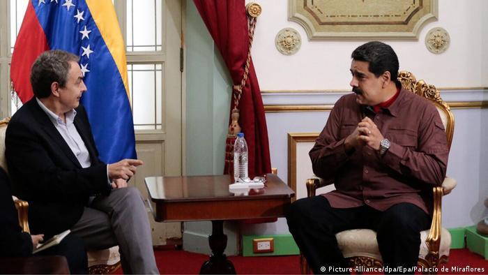 Spanien Venezuela Präsident Nicolas Maduro Jose Luis Rodriguez Zapatero Treffen (Picture-Alliance/dpa/Epa/Palacio de Miraflores)