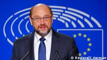 24.11.2016 **** European Parliament President Martin Schulz speaks during a news conference at the EP in Brussels, Belgium, November 24, 2016. REUTERS/Yves Herman