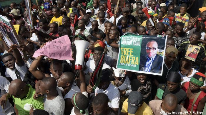 A group of demonstrators calling for an independent Biafra