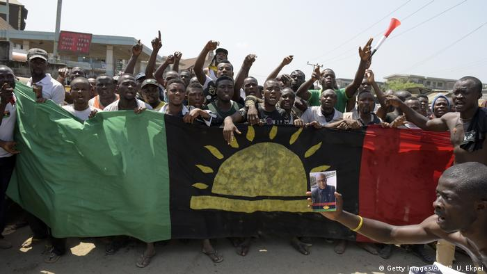 Supporters of an independent Biafra state demonstrate in Nigeria