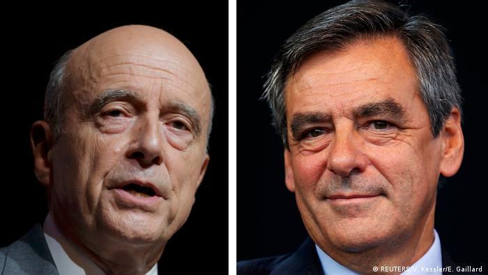 Frankreich Kombobild von Alain Juppe und Francois Fillon