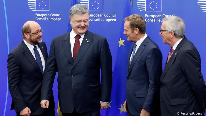 Зліва праворуч: Мартін Шульц, Петро Порошенко, Дональд Туск та Жан-Клод Юнкер