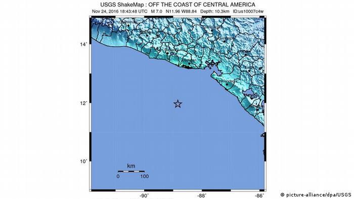 Erdbeben vor der Küste von El Salvador (picture-alliance/dpa/USGS)
