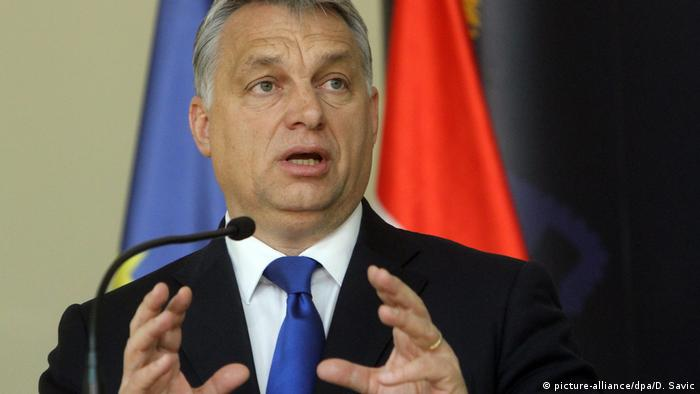 ungarian Prime Minister Viktor Orban speaks at a press conference with The Prime Minister of Serbia Aleksandar Vucic