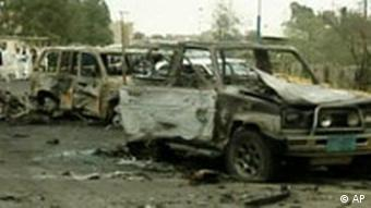 Burned out cars near the United States Embassy in San'a Yemen
