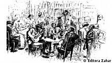 1920er An illustration representing samba parties. Its title is Uma noitada na Lapa