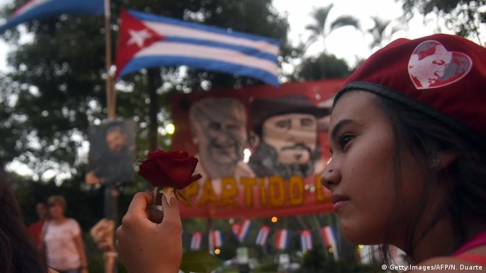 Supporters of Paraguay's Communist Party gather in Asuncion to pay tribute to Cuban revolutionary leader Fidel Castro