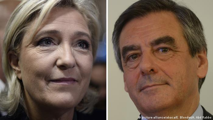 Kombobild Marine Le Pen und Francois Fillon (picture-alliance/abaca/E. Blondet/A. Abd Rabbo)