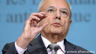 Jacques Barrot gives a press conference on the EU's fight against drugs at the EU headquarters in Brussels, September 18, 2008