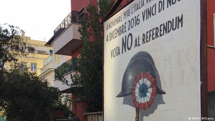 Cartaz sobre referendo italiano 2016 em Roma