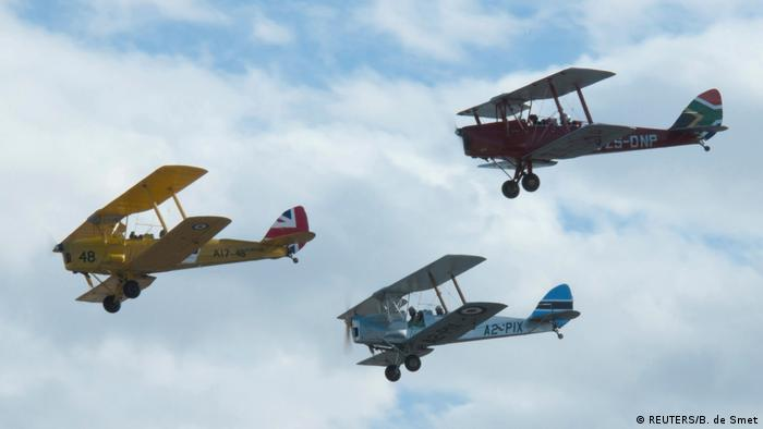 Vintage Air Rally Biplanes representing Britain, Botswana and South Africa fly during the start of the Vintage Air Rally over the airport of Sitia on the island of Griechenland Vintage Air Race (REUTERS)