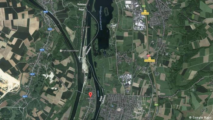 Screenshot of the border between the Netherlands and Belgium at the river Meuse