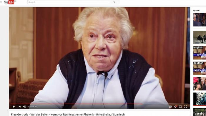 Screenshot Youtube- Frau Gertrude Van der Bellen warnt vor Rechtsextremer Rhetorik (Youtube)