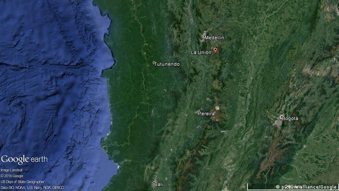 Karte Flugzeug mit Fußballteam in Kolumbien abgestürzt (picture-alliance/Google)