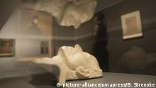 Oct. 8, 2013 - London, England, UK - London, England. Pictured: Death mask of Gustav Mahler by Carl Moll, 1911. This autumn, the National Gallery presents the UK's first major exhibition devoted to Viennese portraiture - ''Facing the Modern: The Portrait in Vienna 1900''. From 9 October 2013 to 12 January 2014 portraits by artists such as Gustav Klimt, Oskar Kokoschka, Egon Schiele and Richard Gerstl will be on display. Photo credit: Bettina Strenske/LNP |
