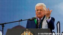 Palestinian President Mahmoud Abbas gestures as he delivers a speech during a rally marking the 12th anniversary of Palestinian leader Yasser Arafat's death, in the West Bank city of Ramallah November 10, 2016. REUTERS/Mohamad Torokman/File Photo