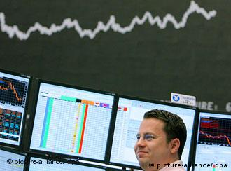 A broker at work at the Frankfurt Stock Exchange
