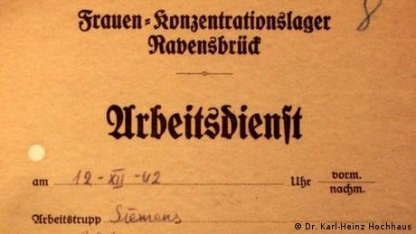 Ravensbrück concentration camp workbook (Dr. Karl-Heinz Hochhaus)