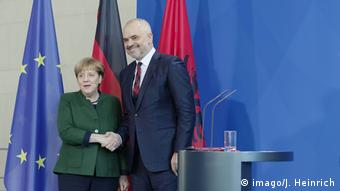 German Chancellor Angela Merkel receiving Edi Rama in Berlin on Monday