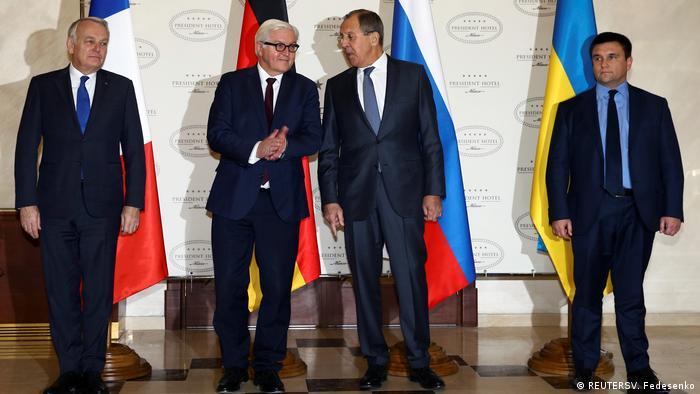 Weißussland Pavlo Klimkin, Sergei Lavrov und Frank-Walter Steinmeier trffen sich in Minsk (REUTERSV. Fedesenko)